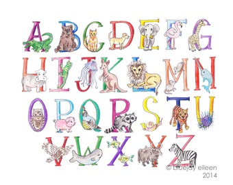 Animal Alphabet Illustration / Colorful Hand Drawn Print / 5x7 or 8x10 or 11x14