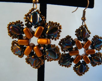 Hand Beaded Flower Earrings