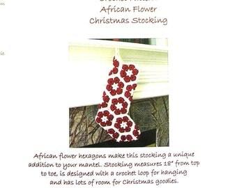 Stocking Crochet Pattern - African Flower Christmas Stocking Pattern - Christmas Crochet Patterns -DIY Christmas Stocking Tutorial