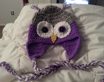 Owl hat with braided tassels