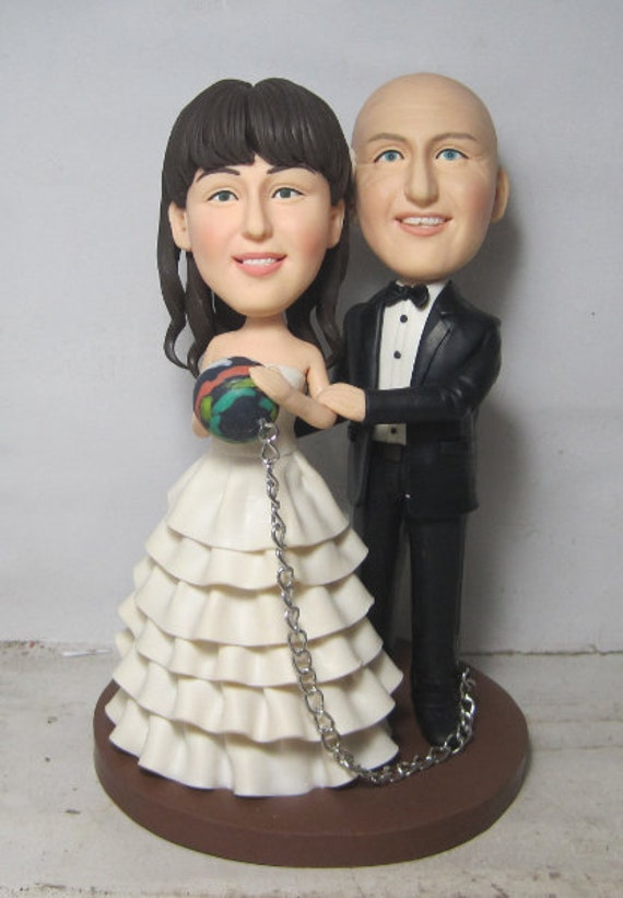 Items Similar To Bowling Wedding Cake Topper Personalized Toppers Funny Cartoon Bride Amp Groom