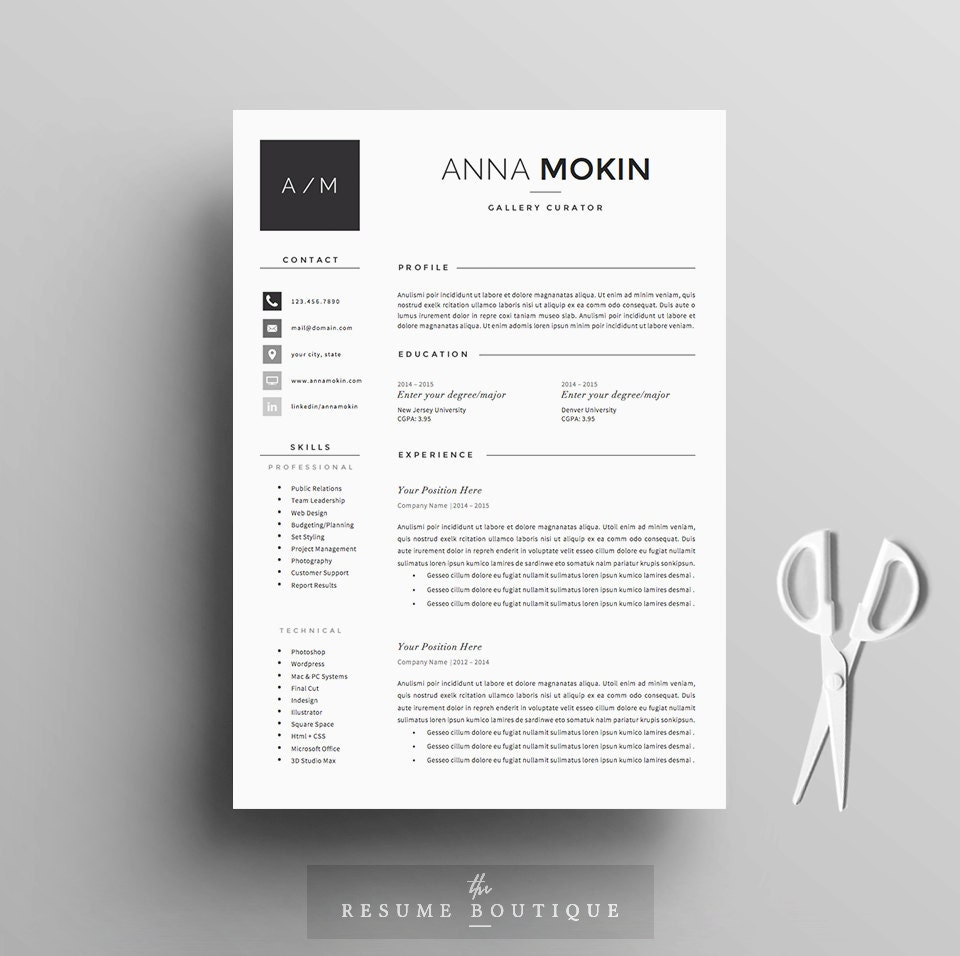 Resume Cover Letter Template: 5 Page Resume / CV Template Cover Letter References For