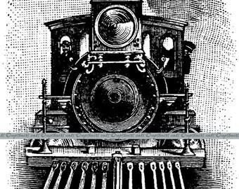 Vintage Train Steam Engine Locomotive Clipart - Digital Graphics Printable Image - Instant Digital Download