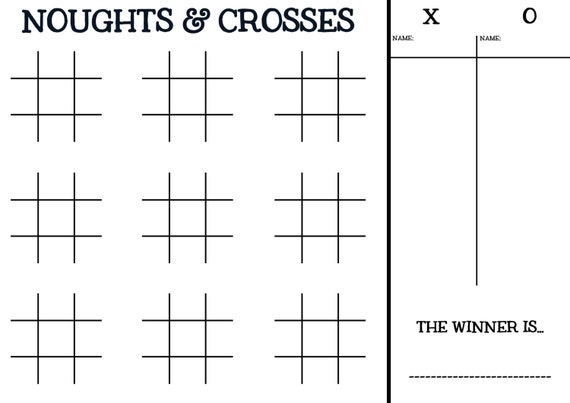 Printable pdf Noughts and Crosses game. by DesignedByCaseyAnn