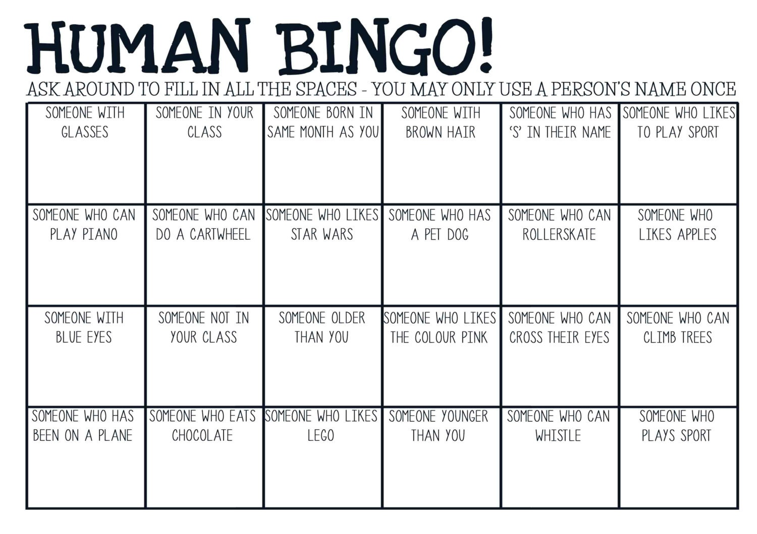 Gallery For gt Human Bingo Template Icebreaker