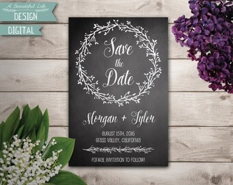 Printable Save the Date - Chalkboard and Branches - Digital File - Customizable