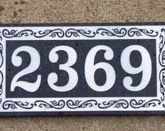 Black Granite address plaque custom carved 6 x 12""