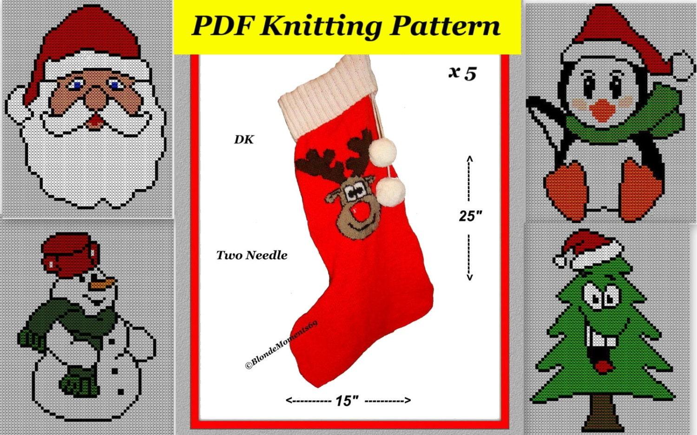 Christmas Stocking Knitting Pattern 2 Needles : 5xChristmas Stocking Knitting Patterns 2 Needle 25
