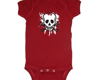 Mashed Tees! Skull & Crossbones Splatter Pirate Costume Baby Bodysuit *Buy 2 Get 1 Free!* (RS1156)