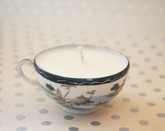 Asian style, green tea scented, eco soy wax, teacup candle