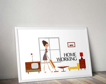 Mid Century Modern, Illustration Print, Retro Poster, Home Wall Art, Woman Poster, home decor, art prints, kitchen decor, gift for woman
