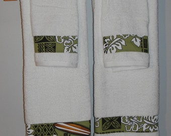 Custom Hawaiian Flower Surfboard Design Pattern Cotton 4Towel Set