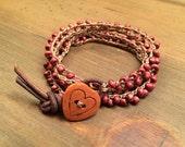 Heart Bracelet, Wrap Bracelet, Boho Bracelet, Crochet Beaded, Red Glass Beads, Heart Button, Heart Bracelet, Red Bracelet