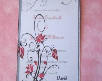 Set of 20 Custom Made Wedding Invitation, Wedding Invitations, Vintage Flower Wedding Invitation