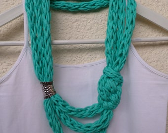 Hand knitted turquoise Necklace with metal bead,  turquoise Necklace, knit necklace, gift for Her, sommer necklace