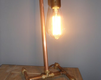 Handcrafted Copper Industrial Table Lamp With Edison Style Light Bulb, Bakelite Switch & Vintage Braided Cable