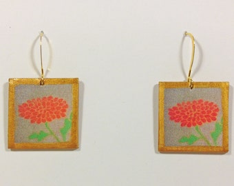 Wearable Art, Chrysanthemum,  Hand Painted Earrings, Gold Fasteners