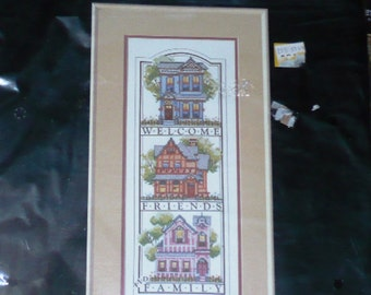 Dimensions Stamped Cross Stitch Kit Victoriana Welcome Friends and Family #3099 1989