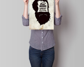 Art Print, Beard Quote, Wall Decor, Poster Art