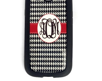 Houndstooth Samsung Galaxy case personalized monogrammed  S3 S4 S5 case cover
