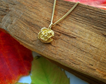 ROSE NECKLACE, GOLD, Flower Necklace, rose flower charm, gold rose pendant , everyday necklace, tiny, dainty necklace,gift for her,Christmas