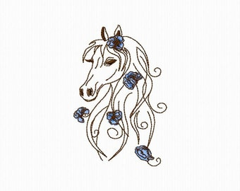 Embroidery machine Redwork of a horse 4 x 4 format