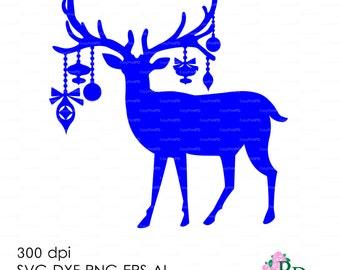 Sale 50% Christmas Deer Reindeer Хмаs Noel (svg, dxf, ai, eps, png) Vector ClipArt Cut file, Diecutting Silhouette Cameo EasyCutPrintPD