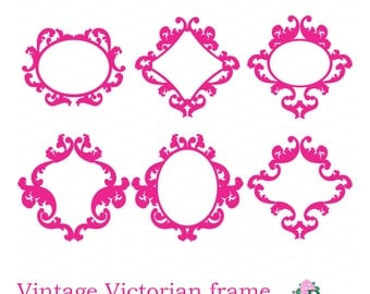 Vintage monograme frame (Studio V.3, svg, dxf, png, eps vector file) Vinyl paper cut template Die cutting Silhouette Cameo Cricut cutter