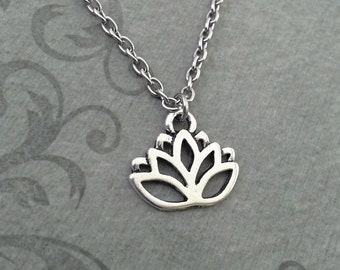 Lotus Necklace SMALL Lotus Flower Necklace Yoga Necklace Meditation Gift Yoga Teacher Gift Buddhist Necklace Buddhist Jewelry Lotus Pendant