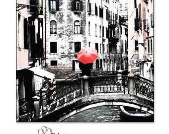 Art Print - Square - Red Umbrella on a Bridge Over a Canal in Venice, Italy - Various Sizes - Photo - Print