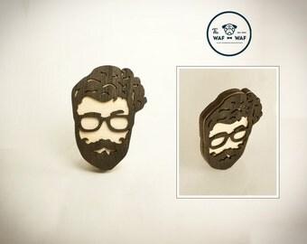 Mustache gift brooch, mustache brooch, wooden mustache pendant, beard brooch mustache