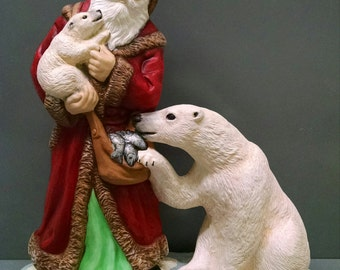 Santa with Polar Bears -- Heirloom-quality handpainted ceramic Santa -- Christmas mantel decor