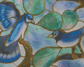 Blue Birds Stained Glass Counted Cross Stitch Pattern for Instant Download