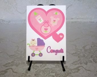 Baby Girl, Congratulation, Blank, Greeting Card