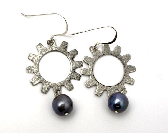 Steampunk Earrings - Steampunk Jewelry, Silver Gear Earrings, Steampunk Gear Earrings