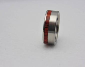 Rosewood inlay Titanium wedding band  waterproof sealed wood