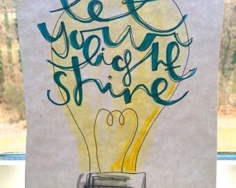 Let Your Light Shine Original Watercolor 8x10''