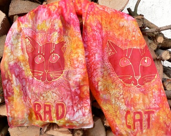 "Silk scarf ""Rad Cat"""