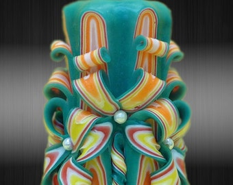 """12cm/5"""" Carved Candle - Small Candle - Blue/Orange Candle"""