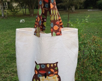 Canvas Tote with Appliqued Owl