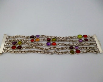 Solid silver link bracelet with semi precious stones