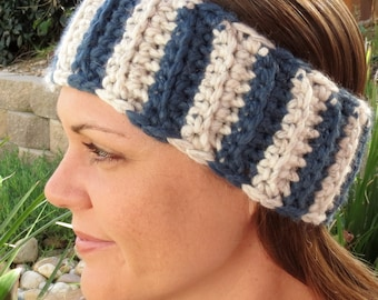 Unisex Blue & Cream Striped Crochet Headwrap with Coconut Buttons