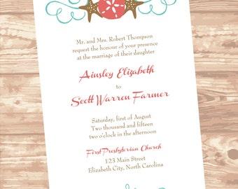 Seashell Wedding Invitation DIY Editable U0026 Printable In Dark Coral And  Lagoon   Editable Microsoft Word