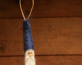 Blue and Green Needle Felted Gnome Ornament