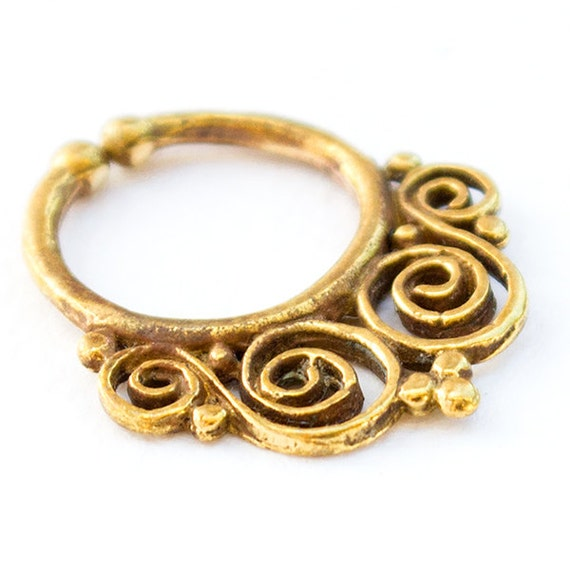 Indian style Fake Brass Septum Ring. Indian septum ring. tribal septum ring. septum piercing. fake septum. tribal septum jewelry. septum.