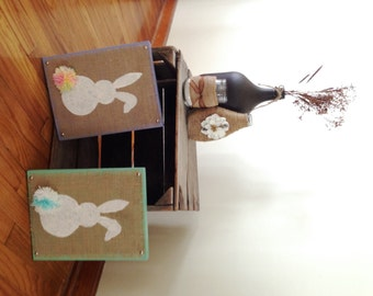 SALE Set of 2 Easter Bunny Wall Hangers