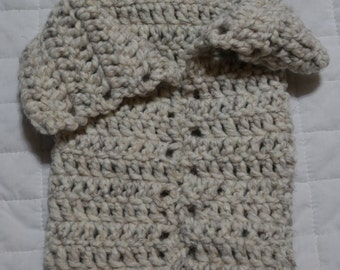Handcrafted Crocheted Baby Hat and Cocoon Set
