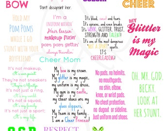 40 Cheerleading Iron On or wall art Pack - 40 Styles - You Print