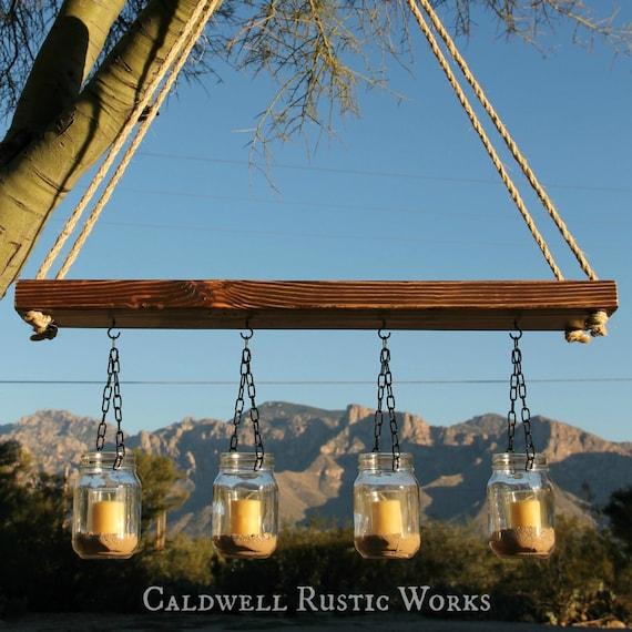 Mason jar lantern chandelier rustic outdoor wood candle for Rustic outdoor chandelier