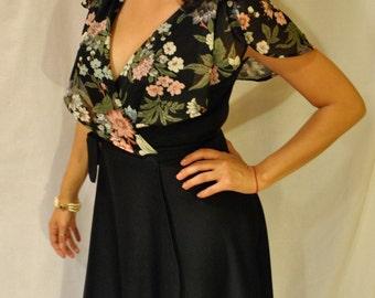 1960's Vintage Floral Ruffled Top Black Wrap Dress